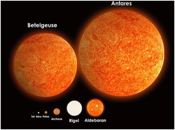 Споредено со некои од познатите ѕвезди, Сонцето е одвај забележливо во долниот ред на лево