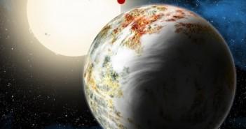 Уметнички приказ на новооткриената планета Кеплер 10ц и лава планетата Кеплер 10б во позадина кои орбитираат околу нивната ѕвезда. Заслуги: David A. Aguilar (CfA)