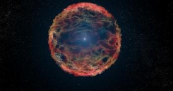 Заслуга: НАСА, ЕСА, Г. Бекон (STScI). Уметнички приказ на супернова 1993J. Користејќи го вселенскиот телескоп Хабл, астрономите ја идентификувале плавата ѕвезда која согорува хелиум во центарот на маглината која е составена од остатоци на супернова и е во фаза на ширење.