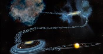 Илустрација на нашиот Сончев Систем низ времето, која го опфаќа периодот пред создавањето на Сонцето па се до создавањето на планетите. Заслуги: Бил Секстон, NSF/AUI/NRAO