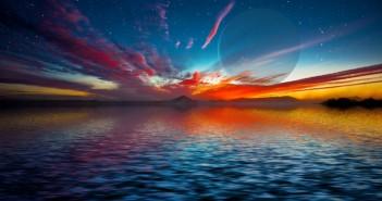 Прикажана е уметничка фотографија на изгрејсонцето на џиновска гасовита планета која се појавува над хоризонтот на еден вонземски воден свет. Новите истражувања налагаат дека океаните на супер- Земјите, откако еднаш ќе настанат траат милијарди години. Извор: David A. Aguilar (CfA)