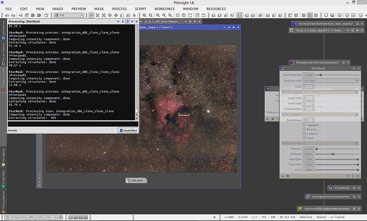Работната околина на софтверот PixInsight, кој според астрофотографите е несомнено најдобар софтвер за обработка.