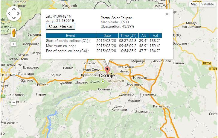 На сликата може да ги видите деталите од затемнувањето за Скопје. Оваа мапа е интерактивна па слободно со кликање на неа преку овој линк http://eclipse.gsfc.nasa.gov/SEgoogle/SEgoogle2001/SE2015Mar20Tgoogle.html можете да ги видите деталите за Вашата локација.