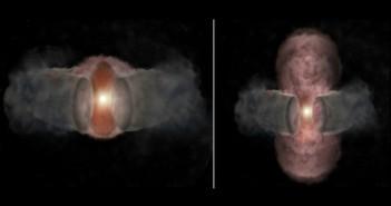 Уметничка перспектива на W75N(B)-VLA-2. Лево: Топол ветер од младата ѕвезда сферично се проширува во 1996 година. Десно: Во 2014-та, ветерот е обликуван во елипса од страна на прашинест торус. Заслуги: Бил Сакстон, NRAO/AUI/NSF