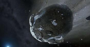 Уметничка илустрација на карпест астероид богат со вода кој се распрарчува поради силните гравитациски влијанија од белото џуџе. Слични објекти од Соларниот систем имаат донесено голем дел од водата. Извор: copyright Mark A. Garlick, space-art.co.uk, University of Warwick