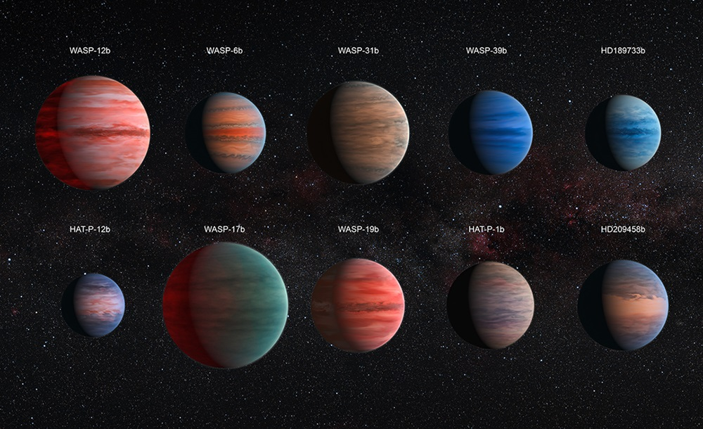 Илустрации на десетте планети кои биле набљудувани за оваа студија. Астрономите сеуште не знаат како всушност изгледаат овие планети, освен за HD189733,за која се знае дека е сина боја.