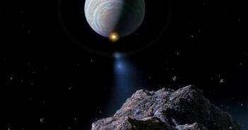 Уметнички приказ на кометата Шумејкер – Левај 9 која удира во Јупитер во 1994 година. Извор: НАСА