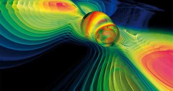 Компјутерска симулација која ги прикажува гравитациските бранови за време на судирот на црна дупка. Открититето има големи импликации за науката. Заслуги: MPI for Gravitational Physics/W.Benger-Zib