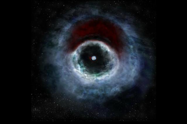 Уметничка илустрација на HD 142527 во видливиот спектар светлина. Црвенкастите делови немаат гас од јаглероден моноксид бидејќи е смрзнат во честички кои полесно се спојуваат. Извор: B. Saxton (NRAO/AUI/NSF)