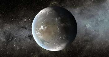 Уметнички приказ на Кеплер 62ф, планета во зоната поволна за живот која орбитира околу ѕвезда на 1200 светлосни години од Земјата.