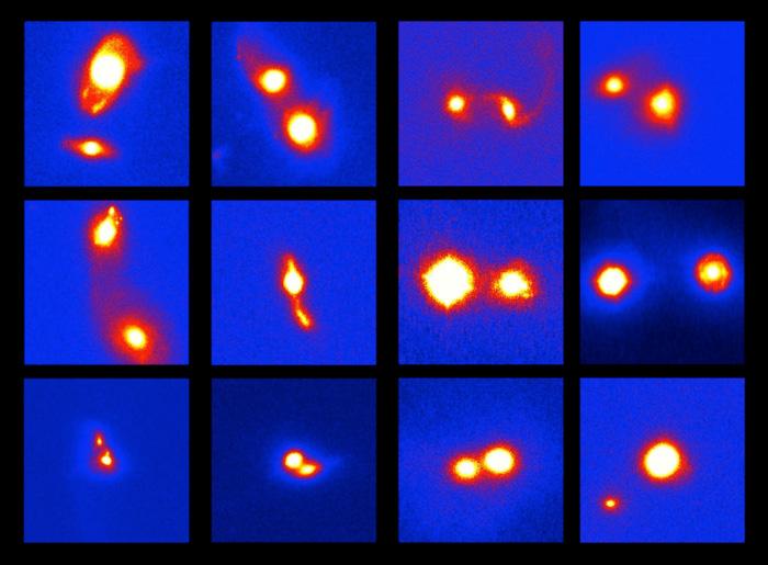 Примери за инфрацрвени слики на светли, ширечки галаксии богати со гас. Индивидуалните слики јасно покажуваат аспекти на процесот на ширење, како интерактивно дупло галактичко јадро и продолжена/премостувачка структура на емисија. Кредити: NAOJ