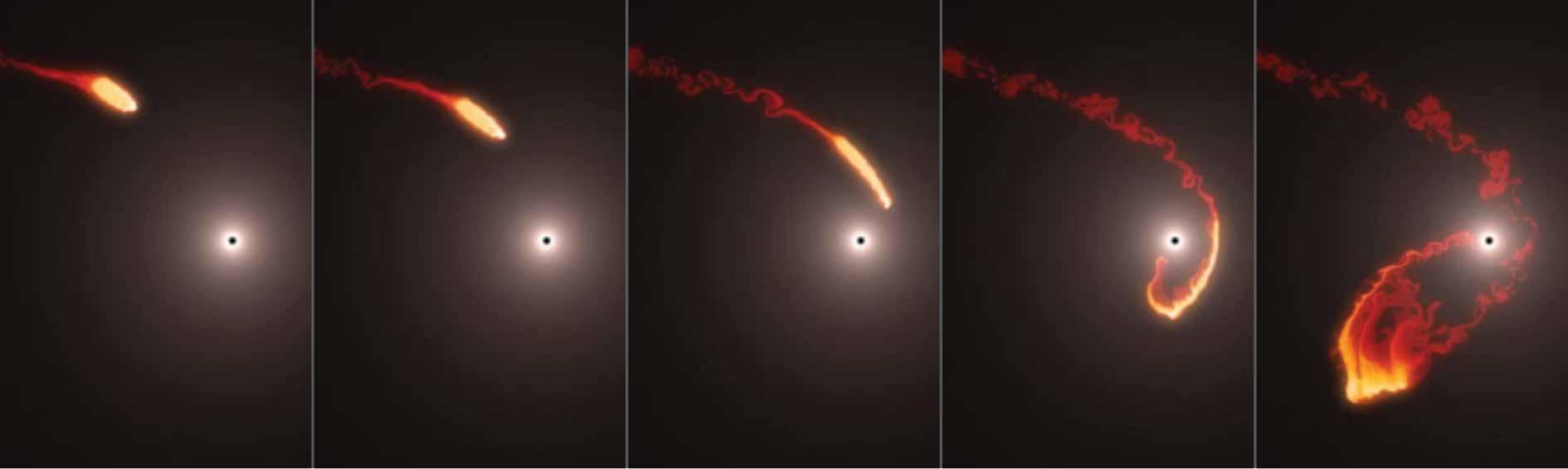Облак од прав наречен G2 се доближува до Стрелец А* (Sagittarius A*), црната дупка во центарот на нашата галаксија. Симулацијата го прикажува начинот на кој е можно облакот да биде развлечен и растргнат.