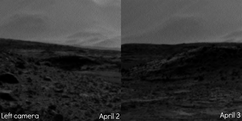На фотографиите направени со левата камера не се забележува светлината. Извор: NASA/JPL-Caltech