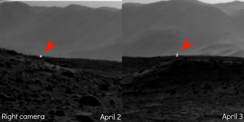 Областа каде се појавувала светлината на фотографиите од 2 и 3ти Април, а била видлива само со десното око на камерата на роверот. Извор: JPL-Caltech