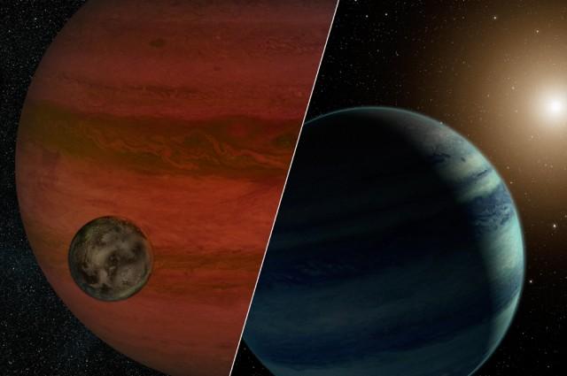 Далечна месечина или бледа ѕвезда? Уметнички се претставени двете можни опции: лево се месечина и планета, а десно планета и ѕвезда. Извор: NASA/JPL-Caltech