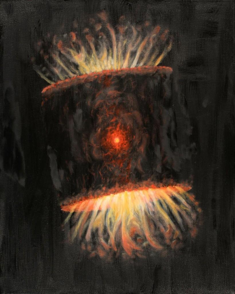 Фотографијата прикажува маслена слика направена од Стивен Мак, која би требала да претставува, како од прилика изгледаат, сегашните експанзии на гас и прашина околу една ѕвезда. Мак е дел од Tohono O'dham нациионалноста, која претставува Индијанското племе на чија територија се наоѓа Кит Пик националната обсерваторија. Заслуга: The National Optical Astronomy Observatory