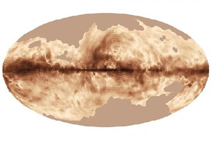 Магнетното поле од Млечниот Пат добиено од страна на Планк сателитот од ЕСА. Заслуги: ЕСА и Планк колаборацијата