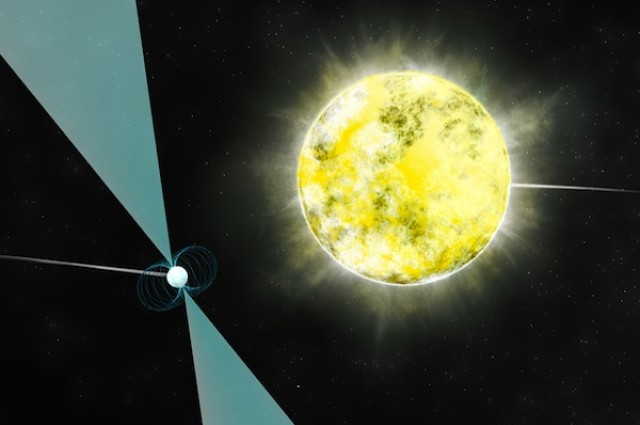 Уметнички перспектива од бело џуџе во орбита со пулсар PSR J2222-0137/ Заслуги: Б. Сакстон (NRAO/AUI/NSF)