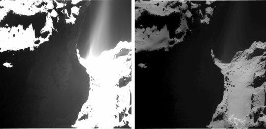 """Две слики од истиот регион на """"вратот"""" на кометата 67П. Десната слика е со експозиција помала од една секунда и прикажува детали од површината на кометата. Левата е преекспонирана (времето на експозиција е 18,45 секунди) па затоа и структурите на површината се нејасни. Заслуги: ESA/Rosetta/MPS for OSIRIS Team MPS/UPD/LAM/IAA/SSO/INTA/UPM/DASP/IDA"""