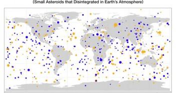 НАСА објави мапа на удари од мали астероиди во Земјата