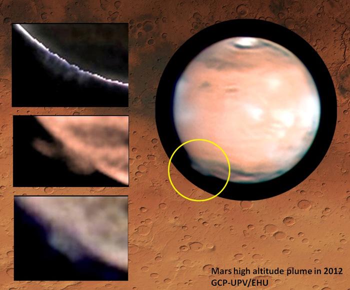Лево на фотографијата со жолтиот круг е одбележана испакнатата појава над површината на Марс. Како позадина е површината од областа Тера Цимериа каде се формирала оваа појава. Извор: Grupo Ciencias Planetarias (GCP) - UPV/EHU