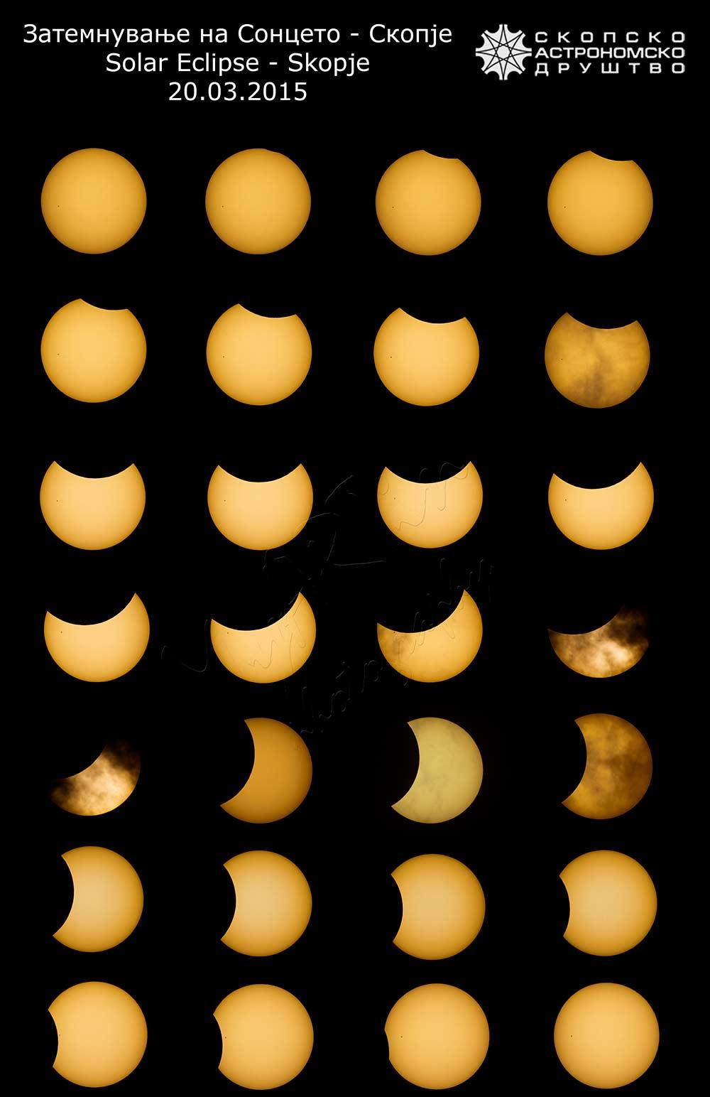 Колаж од фазите за време на затемнувањето во Скопје. За време на максимумот 15-тина минути Сонцето ни беше облаци па тој дел изостанува. Авторски права: Мартин Стојановски
