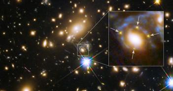 Хабл забележа супернова која е поделена во 4 слики преку космичка леќа