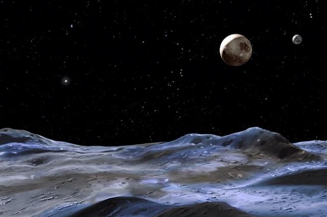 Уметнички приказ на Плутон (големата планета) и Харон (помалата планет) набљудувани од една од месечините на Плутон. Заслуги: НАСА