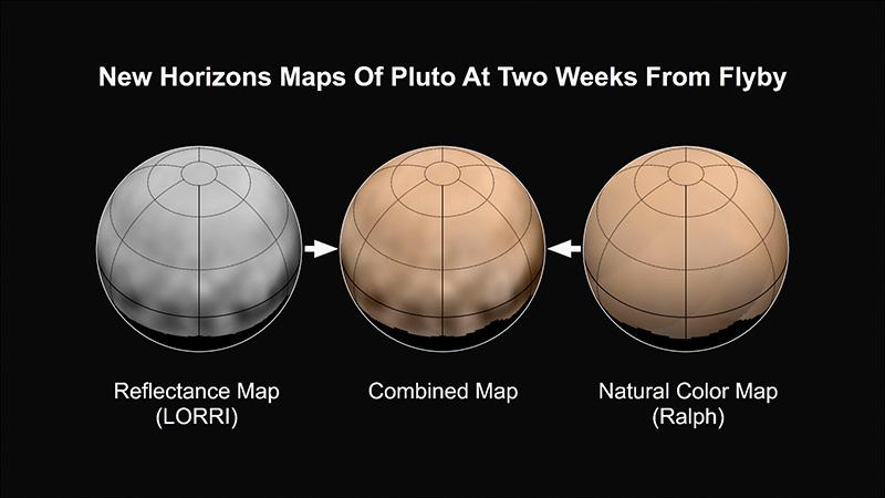 Погледот на Плутон со помош на инструментите на Нови Хоризонти, и реалната боја со која би можеле да го видиме.