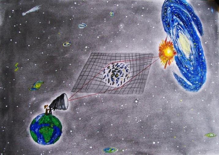 Уметнички приказ на набљудувањето на далечните супернови преку гравитационен телескоп. Галактичкото јато (во средината) со својата маса, служи како леќа со тоа што ја искривува и зголемува светлината која доаѓа до нас од суперновата која се наоѓа во галаксијата позади јатото. Credit: Маеде Мохамадпур Мир.