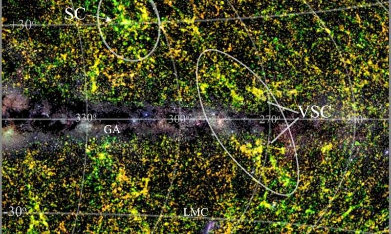 Големо суперјато од галаксии скриени од Млечниот Пат