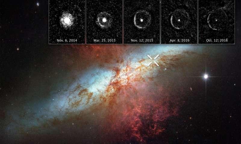 Светлинско ехо околу супернова забележано од Хабл