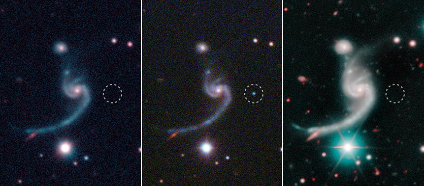 Бледата супернова iPTF14gqr, на работ на спирална галаксија оддалечена 920 милиони години од нас.